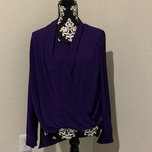 Vince Camuto Dark purple draped blouse